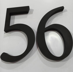 Metal de fábrica no exterior de aço inoxidável casa 3D sinal de número