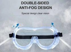En166 Transparente Gafas de protección contra la seguridad de la Saliva con válvulas de transpirable