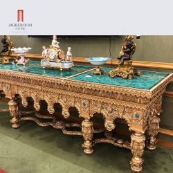Luxury Villa мебель бронзовый металла устанавливается Малахитовый зеленый мраморный камень место на кухонном столе