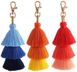 Bohemian colorido artesanal Pendão Bag Charme Chaveiro para senhoras a mala e Wallet Chaveiro