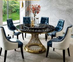 Столовая мебель мраморным верхней части таблицы с ужином металлические ноги современный обеденный стол,