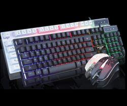 Wired 104 teclas Multimedia retroiluminados juegos ergonómico teclado y ratón con la impresión láser + ratón 3D de 1200 ppp