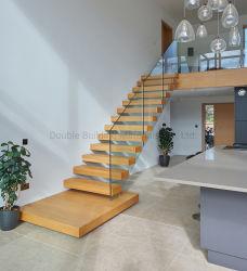 Piscina interior / exterior escada reta escadaria flutuante de madeira Estrutura de aço corrimão de vidro