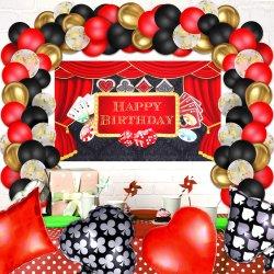 70개의 조각 카지노 파티 장식 용품 세트, 카지노 테마 생일 배경, 4개의 포커 슈트 포일 풍선 및 65개의 라텍스 풍선들 야간 포커 장식 포함