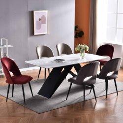 Großhandel maßgeschneiderte moderne Möbel Keramik Top ausziehbare Esstisch für Metallfüße