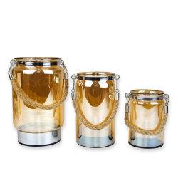 Arredamento per la casa Wedding Party Table decor Brown Glass Candle Holder con luce LED, adatto per matrimoni, Party, Home, SPA, Aromaterapia di compleanno, tavolo da pranzo