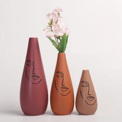 Toda la cerámica decorativa Hand-Painted Terra-Cotta mesa mesa de porcelana de la sembradora de rostro humano jardín de flores Pot Decoracion Decoración Gres Jarrón de flores
