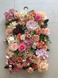 도매 3D 인공 꽃 벽 배경 플라스틱 패널 실크 장미 꽃 벽 웨딩 장식