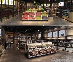 메탈 다기능 식료품 가게 목재 와인 과일 야채 진열장