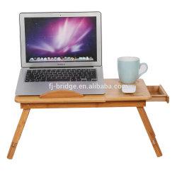 Venta de fábrica de bambú plegable portátil PC Soporte de escritorio mesa para portátil con patas ajustables y cajón lateral