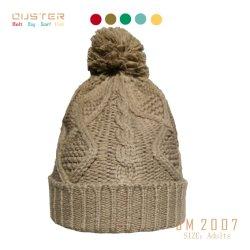 Frauen wärmen Form-Schutzkappen-Winterspandex-Rippen-Muster gestrickten Hut mit grossen Form-Zubehör des Pelz-POM POM