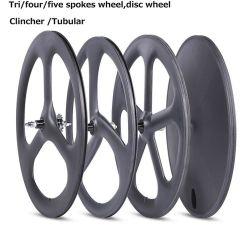 Rueda habló de carbono de disco de carbono tubular de la rueda de bicicleta de pista cubierta en carretera.