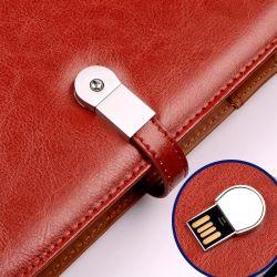 Формат A5 Беспроводной Powerbank дневник с 8 ГБ флэш-накопитель USB провод фиолетового цвета кожи Банка питания ноутбука