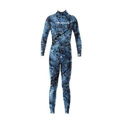 大人2PCSセットの長いネオプレンの潜水服7mmのカムフラージュのウェットスーツのダイビングのフードが付いている開いたセルSpearfishingのウェットスーツ