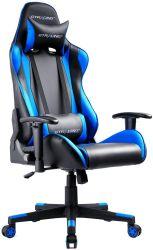 Spiel-Stuhl, der Büro-Computer-Spiel-Stuhl-ergonomischen Gegenständer-und Sitzhöhenverstellungrecliner-Schwenker-Schalthebel mit Kopfstütze und lumbalem Kissen E-Sport Cha läuft