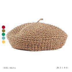 정밀한 얇은 코바늘로 뜨는 Paper Straw Soft Beret 숙녀 우아한 모자 패션 악세사리 여자 여름 모자는 자유롭게 호흡한다