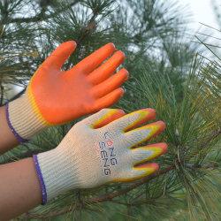 % Taiwan Technique Asatex 10 G Poly coton gants de sécurité au travail avec double couche Orange Jaune Latex enduits deux 2 couleurs, le produit GUANTES de Trabajo Seguridad Pérou Chili