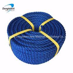 Couleur bleu ou vert 3 brins de corde tordue de PP/PE pour la pêche marine