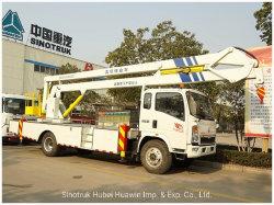 HOWO 4X2 12m 14m 16m 18m 20m brazo plegable pluma telescópica hidráulica montada en camión de plataforma de trabajo de la antena de alta altitud Operación Carretilla con cuchara de trabajo