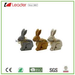 Set di 3 statuette di coniglio in resina per la decorazione pasquale