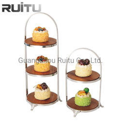 木党ビュッフェのデザートの表示2層3層の金属の純木のビュッフェの円形の午後のハイティーのケーキの立場