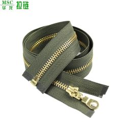 Accessori per indumenti con zip in plastica con estremità aperta e oro lucido Giacca argento zip in nylon metallo all'ingrosso zip Prezzo basso
