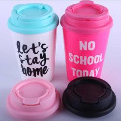 작은 PP 컵 창조적인 일반적인 둥근 에너지 컵 건강 컵은 누출 증거 손잡이 덮개 두 배 컵 로고를 주문을 받아서 만들어질 수 있다 밀봉했다
