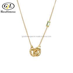 Настроить украшения Olivine Baguet ручного пульта управления вибрационного драгоценными камнями золотые ожерелья серебристого цвета