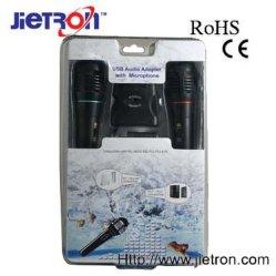 Adaptateurs audio USB avec deux microphones pour PS2/PS3/Wii/Xbox360/PC (JT-0109901)