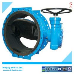GGG40/50 покрытие утюга мягкой резины EPDM/NBR, двойной эксцентриковый двухстворчатый клапан с червячной шестерни
