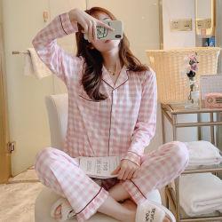 Pajama mujer manga larga primavera y otoño el verano de Cardigan versión coreana de tamaño de la señora fina seda de leche de Comprobación de desgaste de la casa dos palos