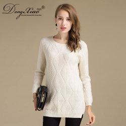 형식 디자인 다이아몬드에 의하여 뜨개질을 하는 모직 여자 긴 스웨터