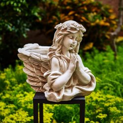 기도가 좋은 천사 플레이터가 레진 스톤 클래식 골동품 동상을 만듭니다