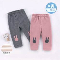 冬の赤ん坊はウサギパターンの子供の女の子ズボンを着る
