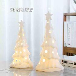 Keramik Xmas Tree Dekorative Steinzeug Tradition Vintage Tischdecke Wohnkultur Dekoration Porzellan Handgemalte Winter Baum geformt White Light LED Weihnachtsbaum