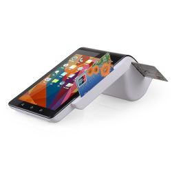 Double écran tactile portable Smart POS Finical Secure Terminal avec lecteur de carte à puce magnétique NFC et Bluetooth pour système de paiement de l'imprimante PT7003