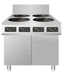 De vier-Plaat van het Toestel van de Keuken van het roestvrij staal de Commerciële Kooktoestellen van de Inductie met Kabinet