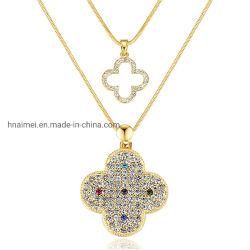 Ornamento Charming della collana del trifoglio della catena del maglione intarsiato Rhinestone