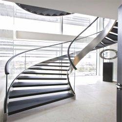 Современные изогнутой стеклянной лестницы / лестница со спиральными шлицами дизайн / изогнутые лестницы / лестница