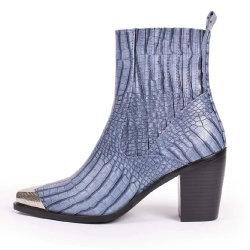 As mulheres da moda Calçados Botas Mulheres Toe metal pesado calcanhares Senhoras Calçados Botas de Animais