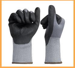 Qualitäts-Nylon/Spandex gestrickte Zwischenlage Mikro-Schaumgummi Nitril beschichtete Arbeits-Sicherheits-Handschuhe mit fester Zelle