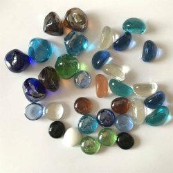 Enchimento do vaso de vidro colorido seixos pedras de vidro para tanque de peixes Seixos