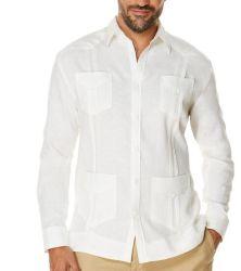 A roupa de homens/camisas de tecidos brancos de algodão