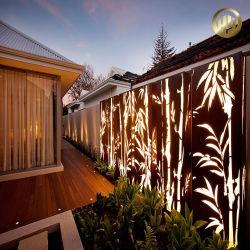 Corten rostiger rechteckiger Bambusmuster-Metallstahlbildschirm