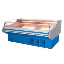 신선한 고기 진열장 도살장 고기, 해산물 상점 냉장고 냉장고를 여십시오