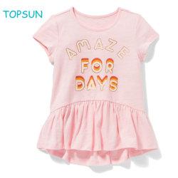 Vestito Short-Sleeved sveglio da estate del pannello esterno di ballo del bambino della maglietta della neonata