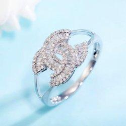 Doppio anello di barretta del diamante dell'anello di cerimonia nuziale del regalo delle ragazze dei monili delle donne di modo di disegno di C