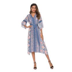 Летом V-образный вырез новой моды напечатано три четверти втулку Sexy длинные юбки