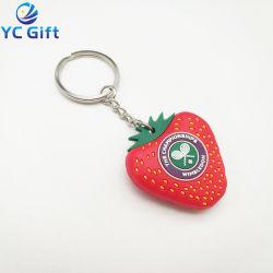 2019 populaires en PVC de mode 3D personnalisés Fruits Key Ring de l'artisanat en caoutchouc coloré touche de fraise Finder caoutchouc gros trousseau pour cadeau souvenir (KC-P64)