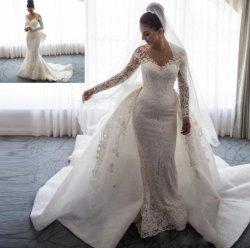 人魚のウェディングドレスのレースのGlisterの取り外し可能なトレインのアラビア長い袖の花嫁衣装W1408